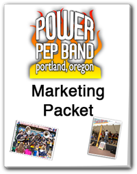 Image of Portlands Power Pep Band marketing packet.